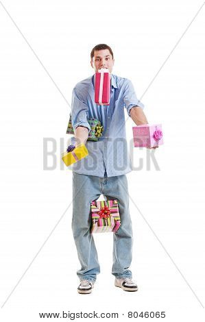 Man Holding Many Gift Boxes