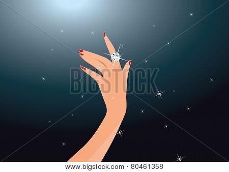 Diamond Ring on a Woman's Hand