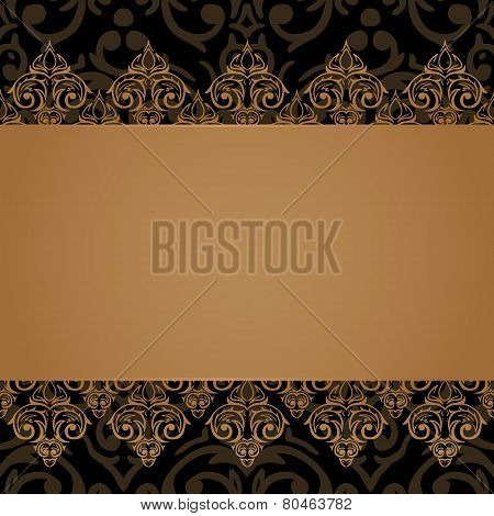 Vector Seamless Baroque Damask Luxury Border