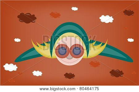 Blond young flying woman with blue wings, glasses, hat