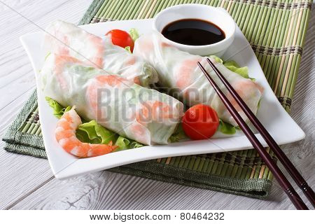 Spring Roll With Shrimp And Sauce On A Plate. Horizontal
