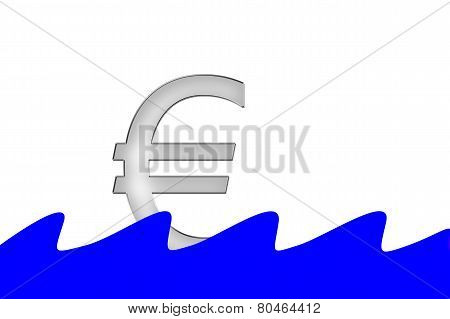 Euro Symbol Swimming On Water