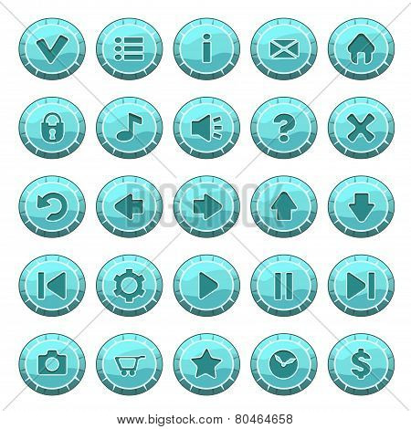 Set Of Ice Round Buttons, Vector Game Icons
