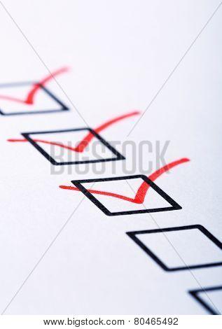 Closeup of check boxes