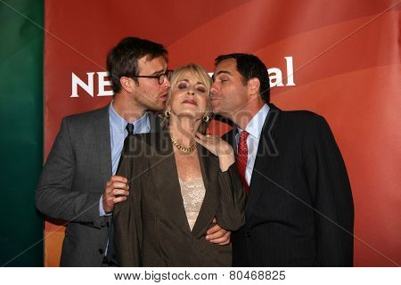 LOS ANGELES - JAN 15:  Sean Kleier, Joanna Cassidy, Andy Buckley at the NBCUniversal Cable TCA Winter 2015 at a The Langham Huntington Hotel on January 15, 2015 in Pasadena, CA