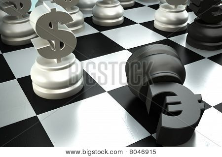 A fight between dollar and euro chess pieces