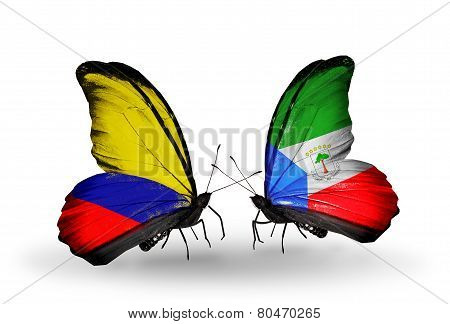 Two Butterflies With Flags On Wings As Symbol Of Relations Columbia And Equatorial Guinea