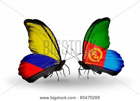 Two Butterflies With Flags On Wings As Symbol Of Relations Columbia And Eritrea