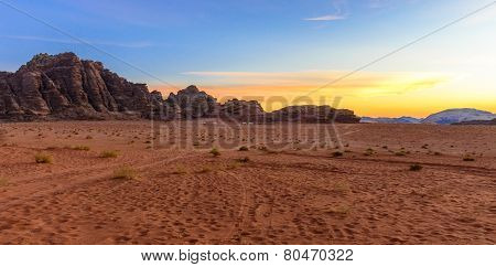 Sunset In Wadi Rum Desert, Jordan