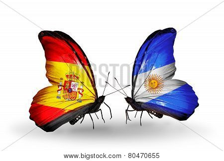 Two Butterflies With Flags On Wings As Symbol Of Relations Spain And Argentina