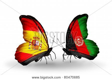 Two Butterflies With Flags On Wings As Symbol Of Relations Spain And Afghanistan