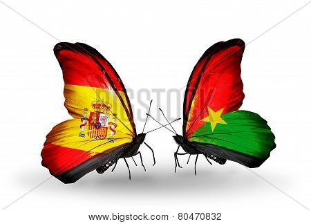 Two Butterflies With Flags On Wings As Symbol Of Relations Spain And Burkina Faso