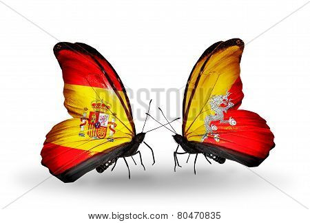 Two Butterflies With Flags On Wings As Symbol Of Relations Spain And Bhutan
