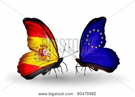 Two Butterflies With Flags On Wings As Symbol Of Relations Spain And Eu