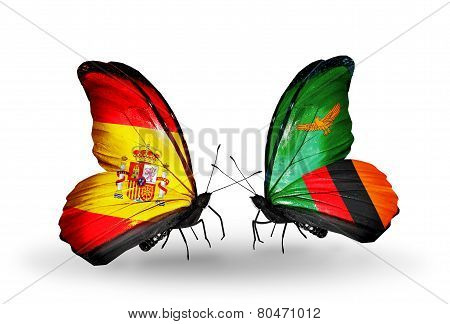 Two Butterflies With Flags On Wings As Symbol Of Relations Spain And Zambia