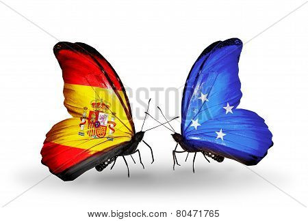 Two Butterflies With Flags On Wings As Symbol Of Relations Spain And Micronesia