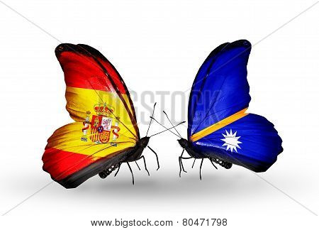 Two Butterflies With Flags On Wings As Symbol Of Relations Spain And Nauru