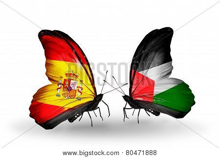 Two Butterflies With Flags On Wings As Symbol Of Relations Spain And Palestine