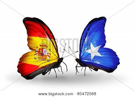 Two Butterflies With Flags On Wings As Symbol Of Relations Spain And Somalia