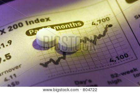 pills on stock price chart.