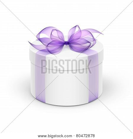 White Round Gift Box with Light Purple Violet Lavander Ribbon and Bow Isolated