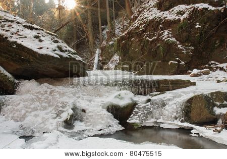 Winter Creek In  The Valley In  Parkland In February