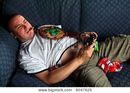 England Football Supporter Slob On Sofa Playing Games