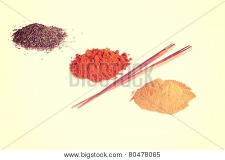 Curcuma or curry pepper, chili pepper spices.