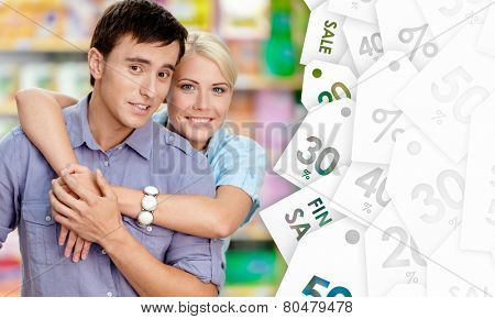 Nice couple in the shop. Concept of happy relationship and affection