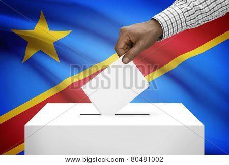 Ballot Box With National Flag On Background - Democratic Republic Of The Congo - Congo-kinshasa