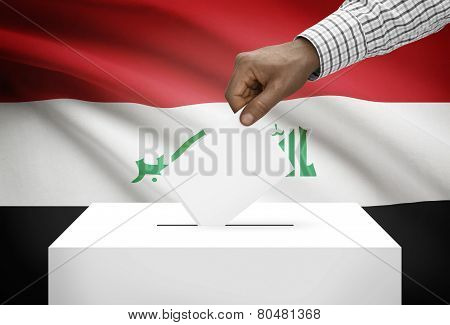 Ballot Box With National Flag On Background - Iraq