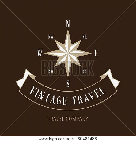 Wind Rose Vintage retro Logo design Travel company vector template.