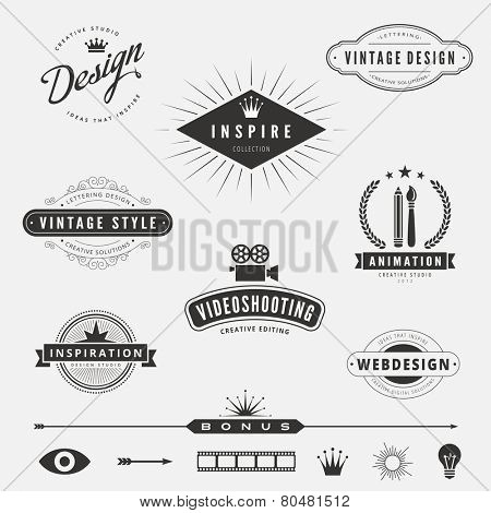 Retro Vintage Labels Logo design vector lettering inspiration template set.  Old style elements, business signs, logos, label, badges and symbols. Design Studio Logotype collection pack