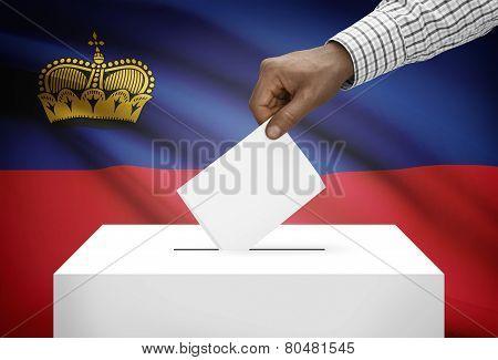 Ballot Box With National Flag On Background - Liechtenstein