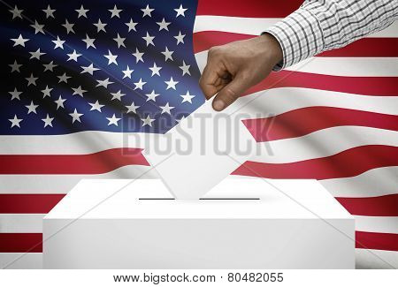 Ballot Box With National Flag On Background - United States Of America