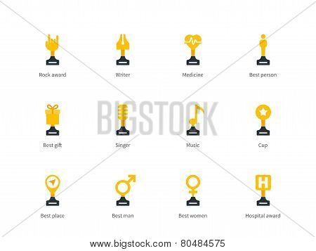 Trophy cup flat color icons on white background.