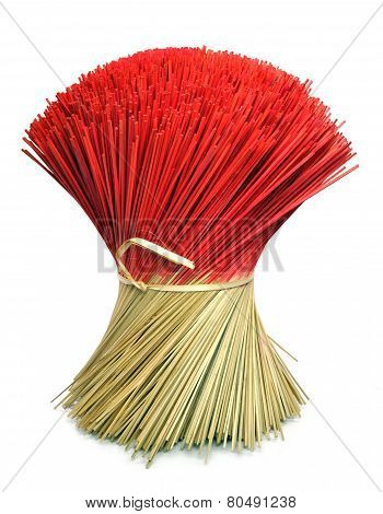 Bunch Of Incense Joss Sticks Isolated On White Background