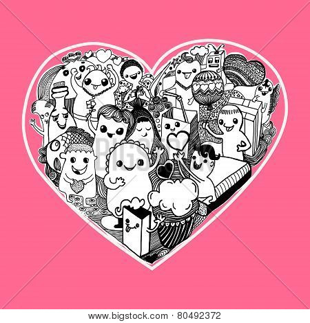 Vector Pattern Of Love With Doodle Design Elements - Illustration