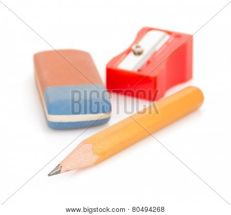 pencil and sharpener isolated on white background