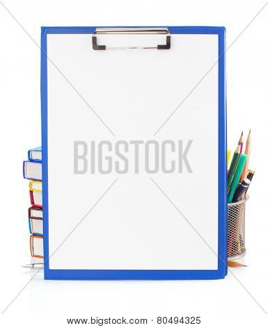 paper clipboard and school supplies isolated on white background