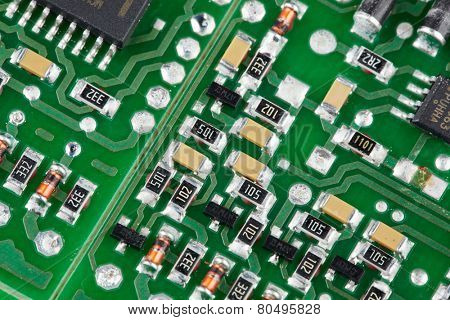 Printed Circuit Board. SMD technology. Surface mount device.
