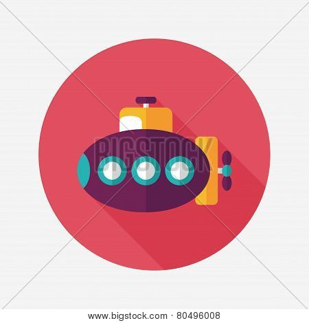Transportation Submarine Flat Icon With Long Shadow,eps10