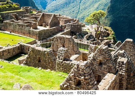 Intricately crafted stonework at Machu Picchu, Peru