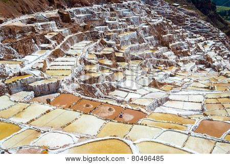 View of Salt ponds, Maras, Cuzco, Peru