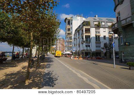 DUSSELDORF, GERMANY - SEP 16: Dusseldorf streets on September 16, 2014. Dusseldorf is the capital city of the German state of North Rhine-Westphalia and centre of the Rhine-Ruhr metropolitan region