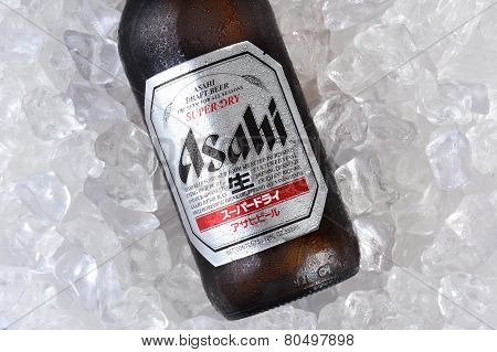 Asahi Beer On Ice Closeup