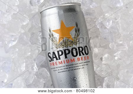 Sapporo Can On Ice Closeup