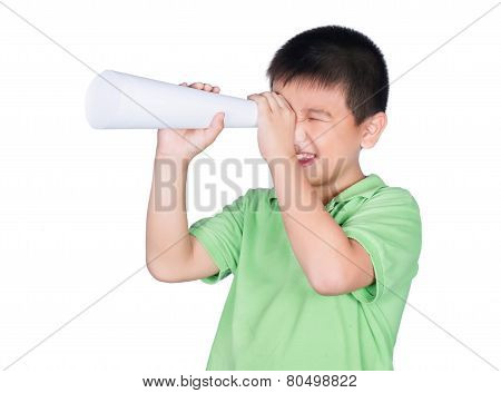 Little Boy With A Fake Megaphone Made With White Paper Isolated On The White Background, Rights Of A