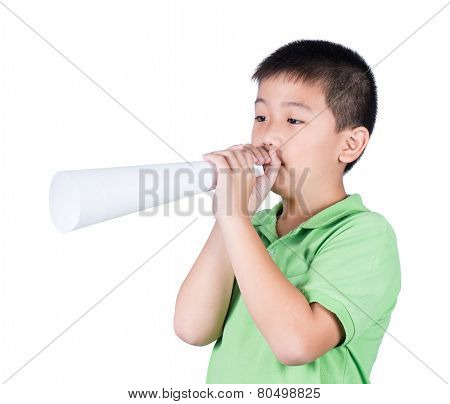 Little boy with a fake megaphone made with white paper isolated on the white background