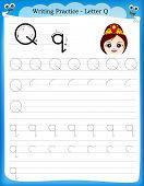 picture of kindergarten  - Writing practice letter Q printable worksheet with clip art for preschool  - JPG